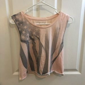 Baby Pink faded American Flag cropped top!